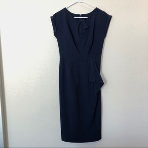 Stop Staring! 1940s Style Navy Blue Wiggle Dress
